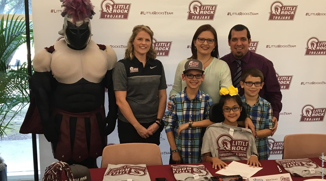 Edyn Walterhouse signs a letter of intent to join the UA Little Rock swimming and diving team.