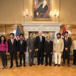 Nine college students from India completed six-week internships in cutting-edge research areas at the University of Arkansas at Little Rock this summer. The students also visited Gov. Asa Hutchinson at the Arkansas Governor's Manson in Little Rock. Pictured, from left to right, are Yash Dutt Sharma, Yashshree Anil Patil, Tanya Gupta, Rajeev Sugandhi, Shubham Gupta, Sachin Sharma, Gov. Asa Hutchinson, Seshadri Mohan, Rahul More, Rahul Sharma, Vatsal Gala, Mohan Patle, and Varad Anil Deshpande.