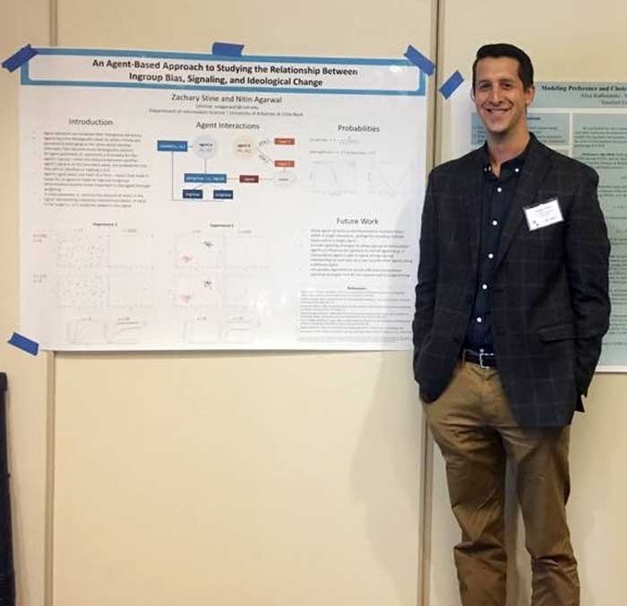 A University of Arkansas at Little Rock doctoral student, Zachary Stine, has presented research on how opinions can be formed, influenced, and changed during the Computational Social Science Conference held Oct. 19-22 in Santa Fe, New Mexico.