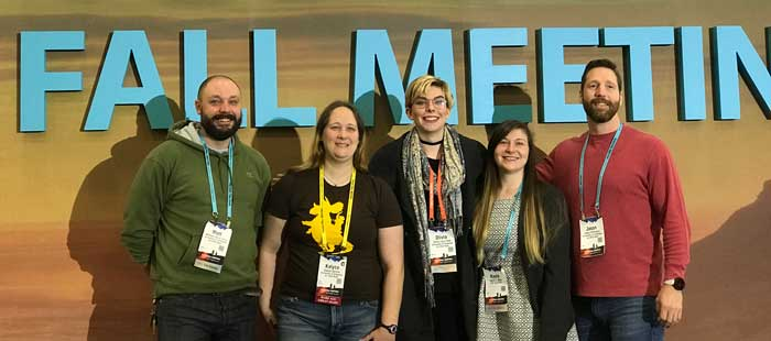 University of Arkansas at Little Rock students attending the American Geophysical Union Fall Meeting, from left to right, are Matthew Carey, Kalyca Spinler, Olivia Pate, Kayla Bolin, and Jason Simmons.