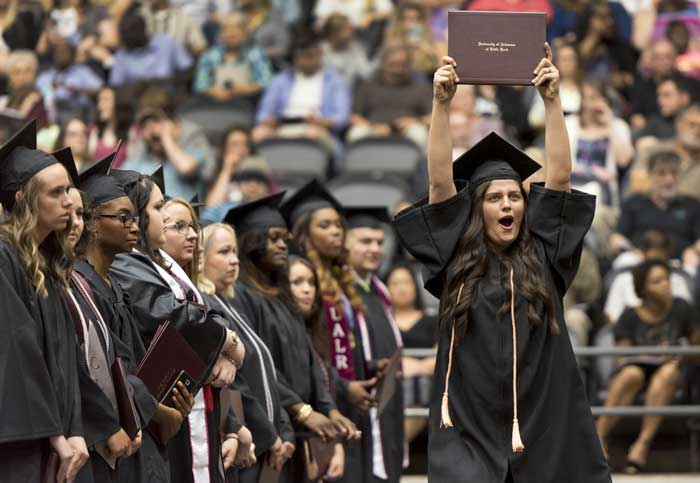 University of Arkansas at LIttle Rock students celebrate their May 2017 graduation at Jack Stephens Center.