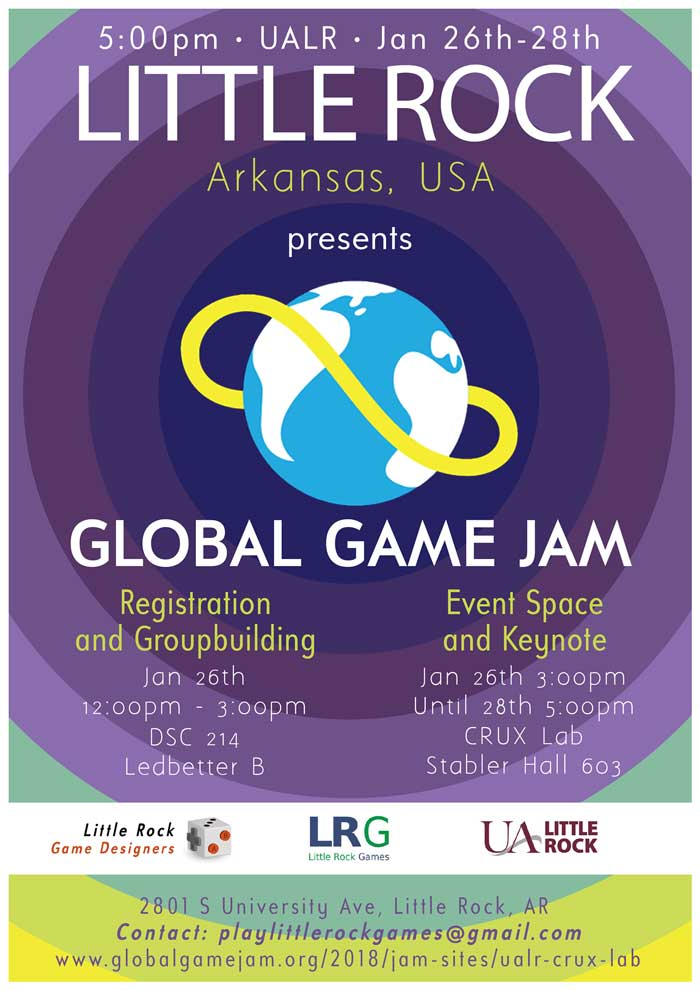 The University of Arkansas at Little Rock will host a Global Game Jam Jan. 26-28 for adults who are interested in creating a game in 48 hours.
