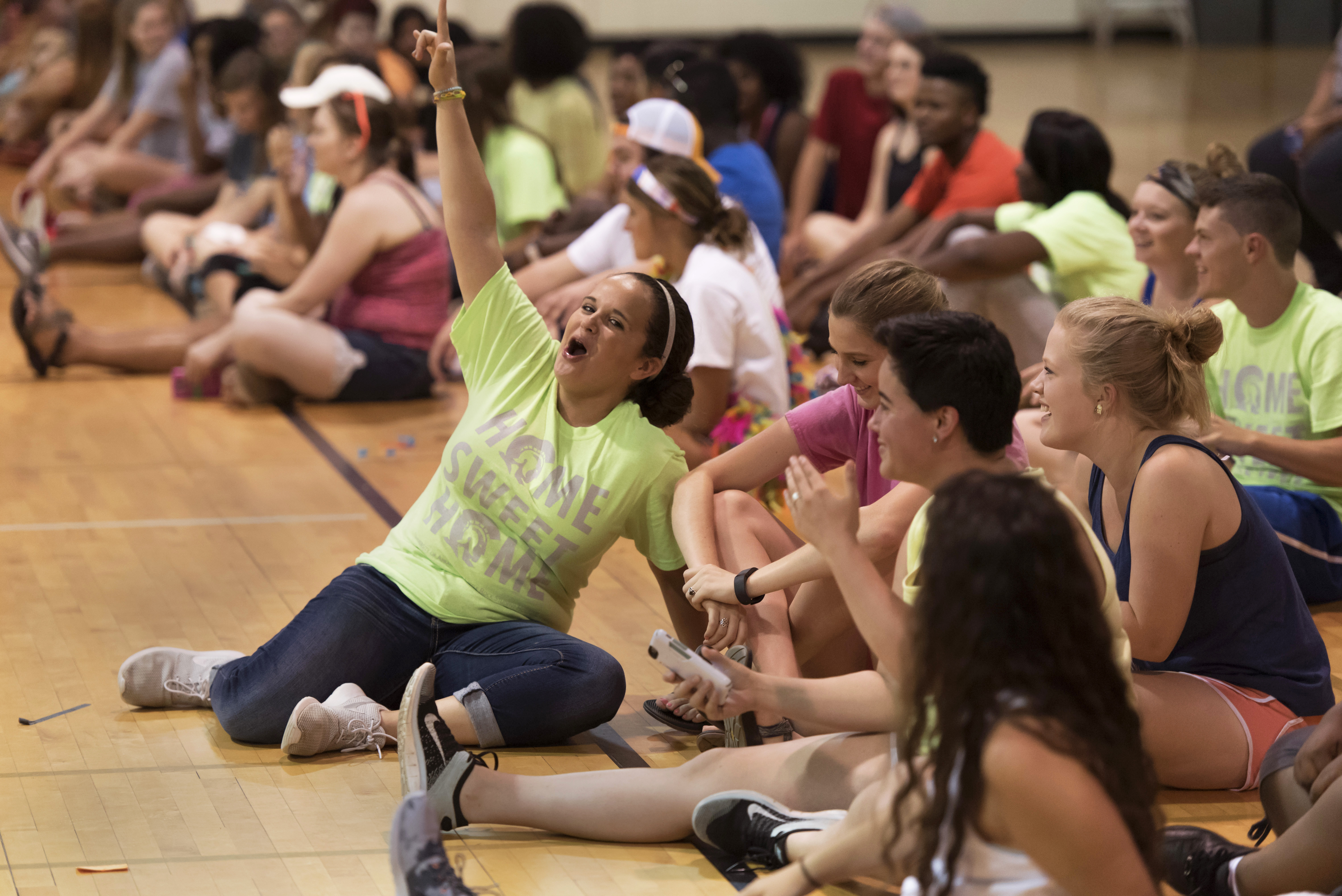 CLC students play games during team building exercises on August 13, 2015 in the athletic field house.