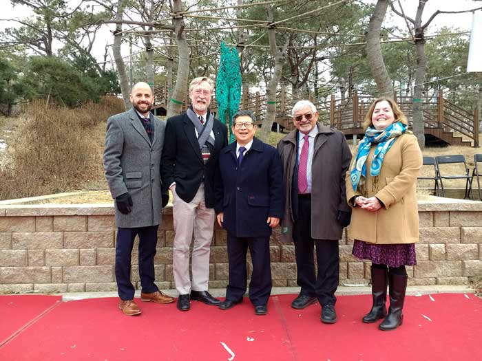 "A delegation from Little Rock attends the dedication ceremony for Michael Warrick's sculpture, ""Youth,"" which was gifted to Hanam City, South Korea. The group includes (L to R) Robert Coon, Warrick, Joon Park, Ashvin Vibhakar, and Melanie Berman."