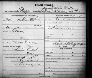 The death certificate of Calvin Miller, a possible victim of the Elaine Massacre, states that he died on Oct. 4, 1919, due to a hemorrhage.