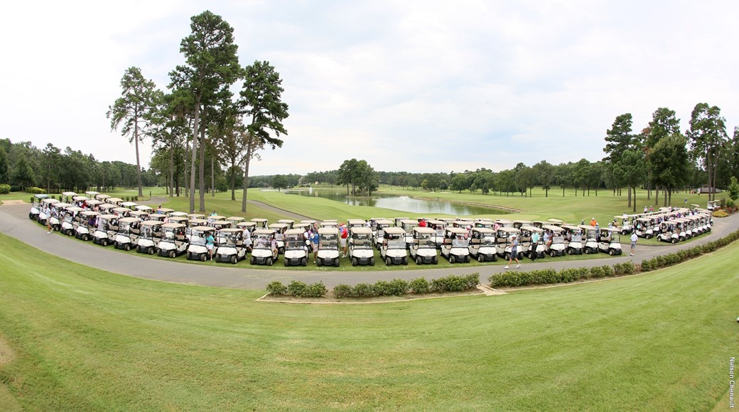 Golf carts line up for the 2017 Little Rock Golf Shamble at Pleasant Valley Country Club.