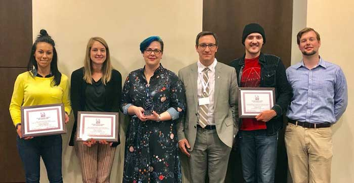 The winners of the College of Social Sciences and Communication Research and Creative Works Showcase.