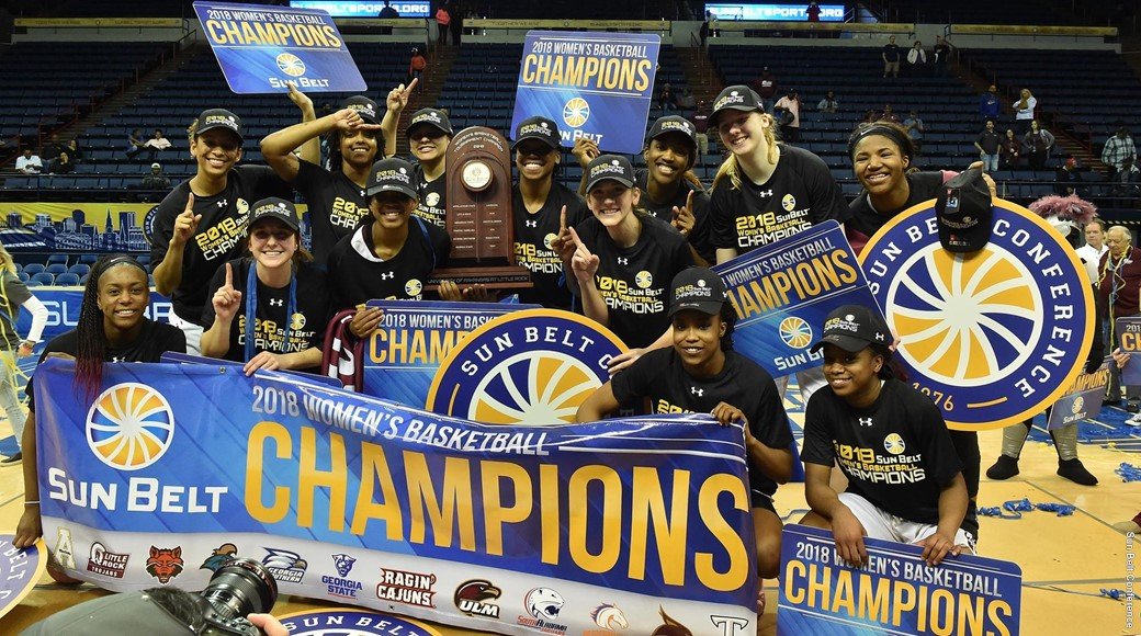 The Trojan women's basketball team won the Sun Belt Conference Tournament Championship.