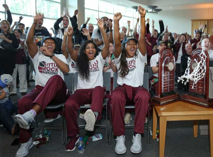 The University of Arkansas at Little Rock women's basketball team and fans react to the news that No. 14 seed Little Rock will play No. 3 seed Florida State in the first round of the NCAA Tournament on Saturday at 10 a.m. (CT) in Tallahassee.