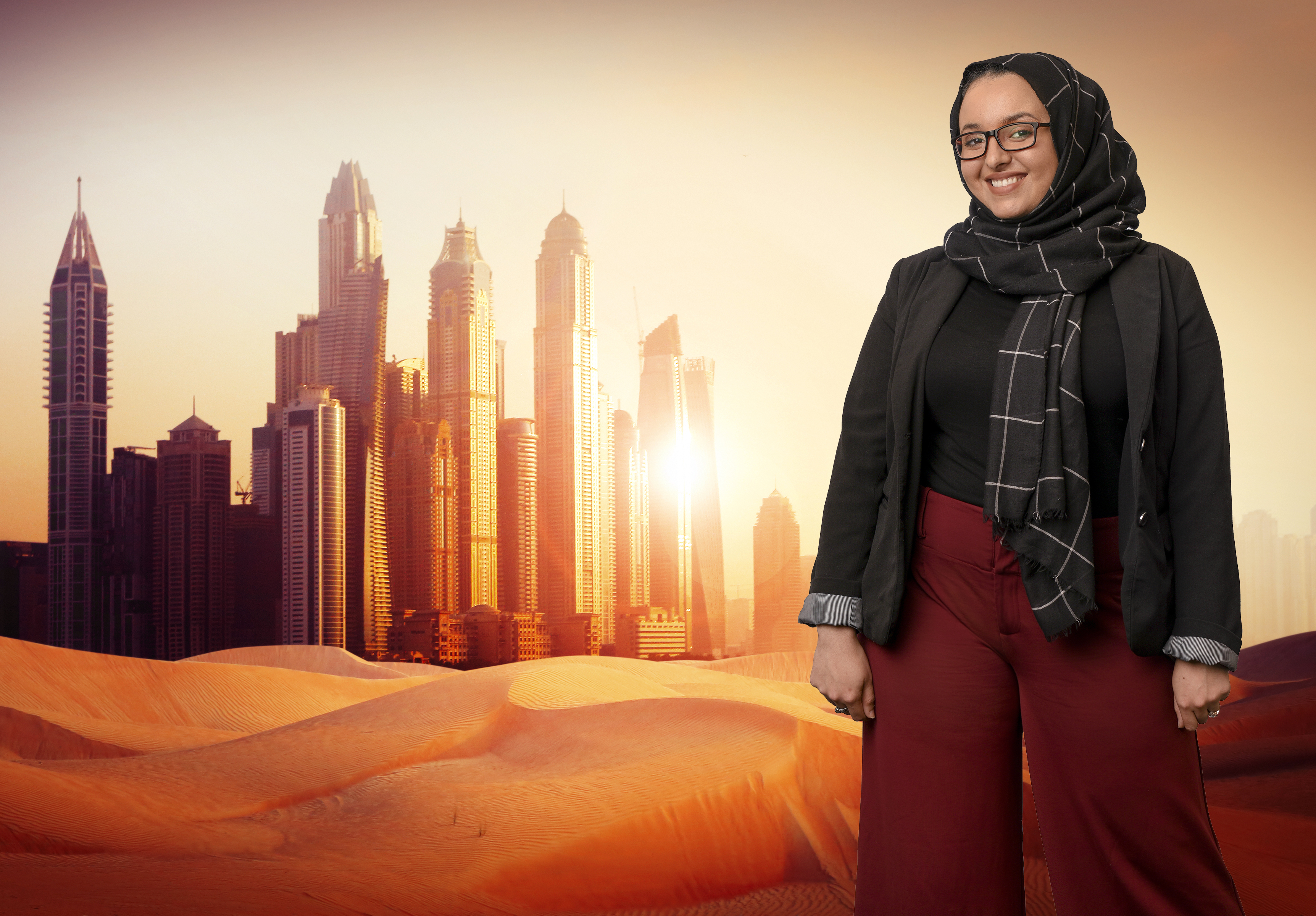 Photo composite of UA Little Rock graduate student Nora Bouzihay who studied in Dubai