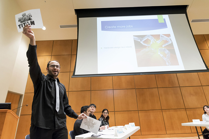 Students in the Intensive English Language Program participate in student debates in fall 2017.