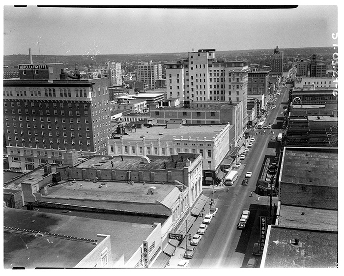 An image from the Earl Saunders Photograph Collection depicts a view of Main Street in Little Rock in May 1927.