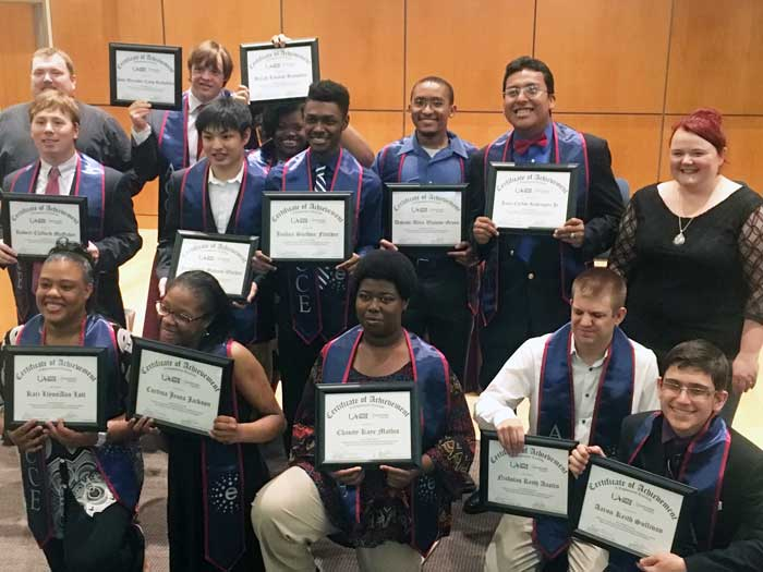 The 2018 graduates of the ACCE program include (L to R): Back row: John Steele, ACCE instructor, and graduates John Rockefeller and Breah Hampton. Middle row: Graduates Ford McGahee, Jonmichal Walker, Joshua Fletcher, Davion Green, Juan Rodriguez, and ACCE Instructor Leslie Harms. Front row: Kari Lott, Curtina Jackson, Chasity Mathis, Nicholas Austin, and Aaron Sullivan.