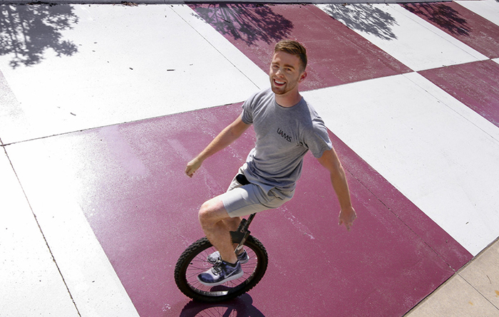 James Sellers learned to ride a unicycle while working as an RA at his dorm