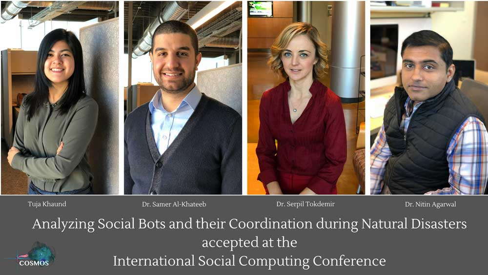 Researchers at the University of Arkansas at Little Rock are studying how social bots influence the delivery of news via social media during major disasters.