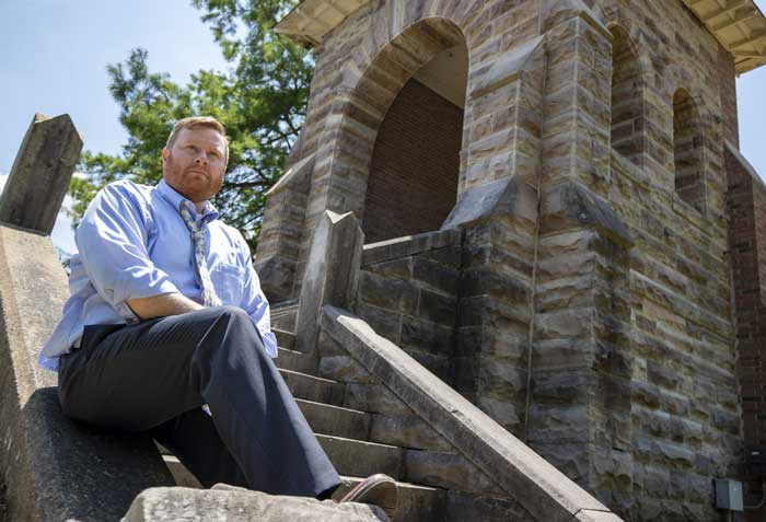Tim Brown is pictured in the old bell tower in Little Rock's Centennial Park. Photo by Ben Krain.