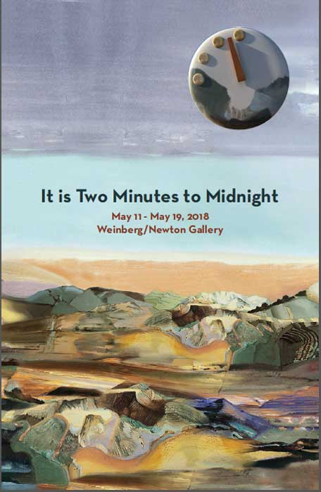"The exhibit, ""It is two minutes to midnight,"" will be on display at the Weinberg/Newton Gallery in Chicago May 11-19. The exhibit transverses a geopolitical landscape of nuclear risk, climate change, and disruptive technologies starting in 1947 through today."