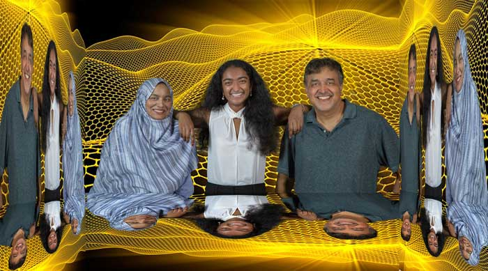 UA Little Rock chemistry professors Dr. Noureen Siraj (left) and Dr. Tito Viswanathan (right) mentored Central High School student Meghana Bollimpalli on her project to create carbon-based electrodes for supercapacitors. Photo by Ben Krain/UA Little Rock Communications.