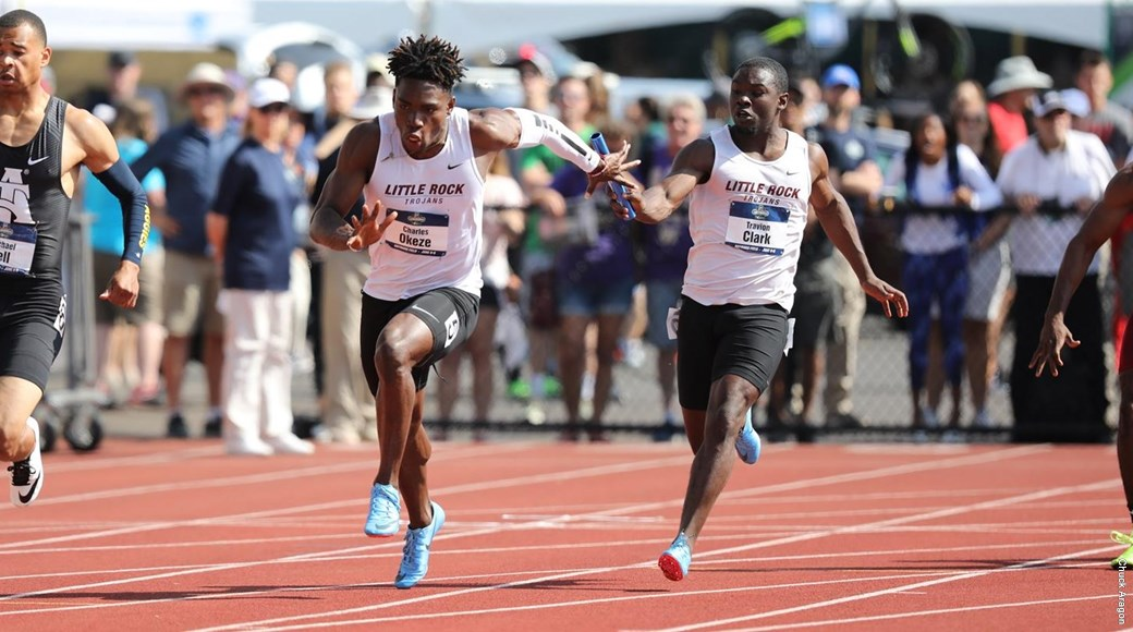 UA Little Rock student-athletes Charles Okeze and Travion Clark compete in the 2018 NCAA Outdoor Track and Field Championships at the University of Oregon.