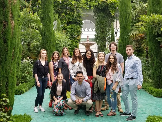 The study abroad students visit the Grand Mosque of Paris. The group (L to R) includes Back Row: Julie O'Hara, Elizabeth Ray, Dr. Rebecca Glazier, Madison Ray, Abigail Resendiz, Colin Davies, Leon Kockaya. Front row: Allie Woodville, Jorge Gonzalez, Charlana Benefield, and Paige Topping.