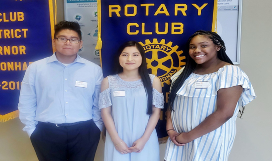In the upper right photo, Armando Arellano (left), is pictured with fellow Rotary Club of West Little Rock scholarship winners Melissa Velazquez (center), and Stephanie Chukwuanu (right).