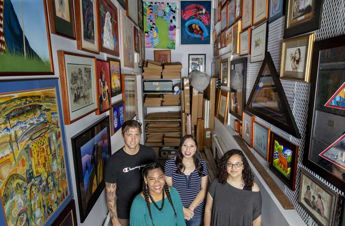 The Sequoyah National Research Center has selected four students for its 2018 Native American Student Internship Program. The interns (L to R) include Kevin Briceland, from Southern Methodist University,Courtney Peyketewa, from Oklahoma Central University, Heidi Davis, and Stephanie Rabadeux, both from UA Little Rock. Photo by Ben Krain/UA Little Rock Communications.