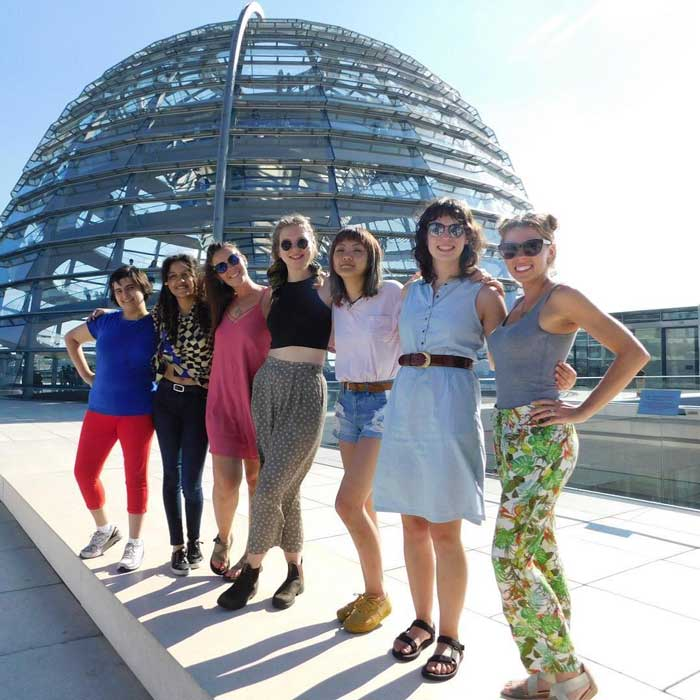 The study abroad students visit the roof of the Reichstag building, home of the German parliament. The group (L to R) include: Astrid Bodini, Tatiana Correa, Jana Miller, Grace Lytle, Gege Zhang, Cassandra Christ, and Katie Wilson.