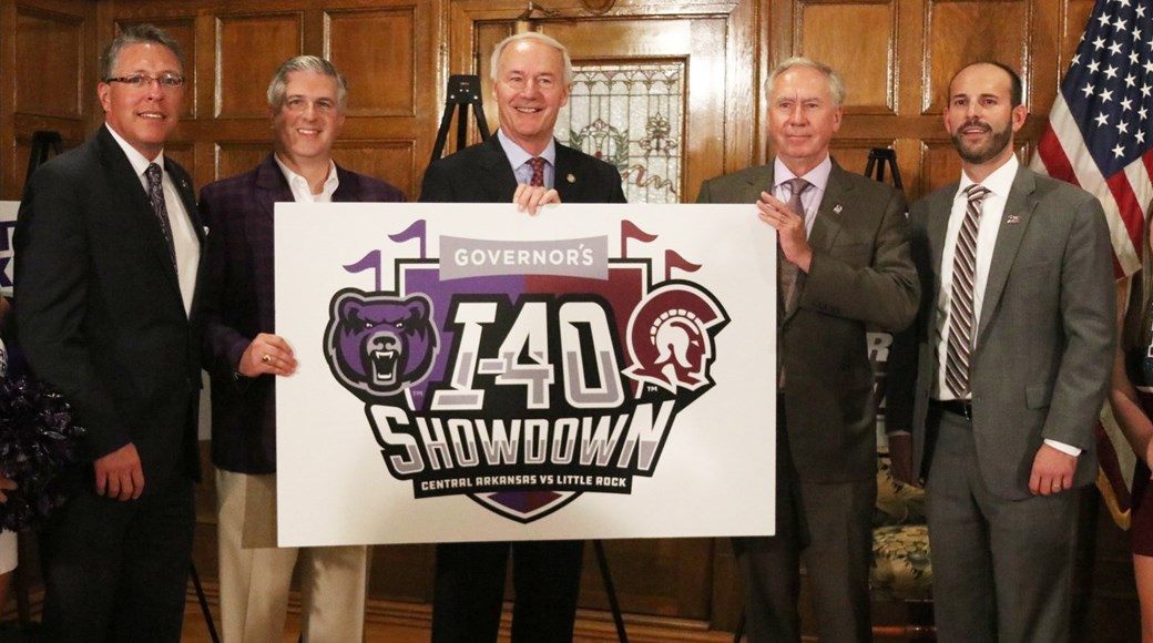 The athletic departments from the University of Central Arkansas and the University of Arkansas at Little Rock today announced the formation of the Governor's I-40 Showdown, a rivalry series established to promote the spirit of in-state competition between the Little Rock Trojans and the Central Arkansas Bears while celebrating the athletic programs of both schools.