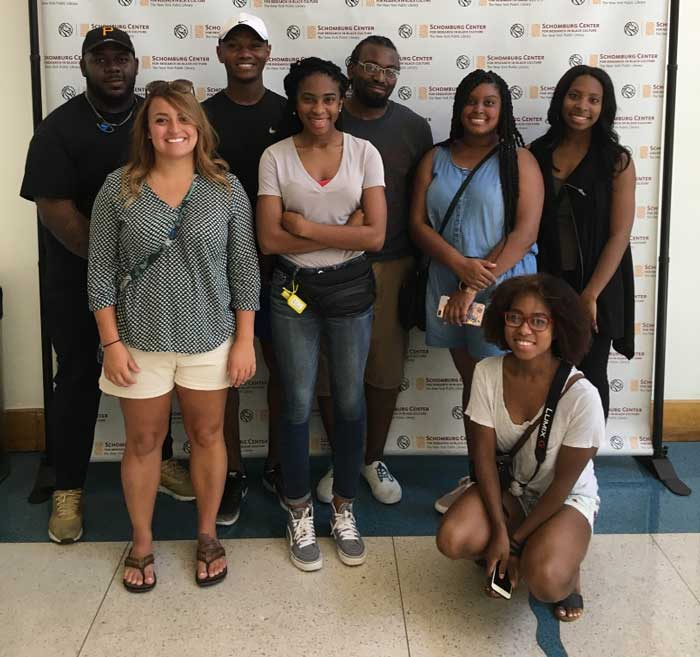The students who traveled to New York City include (L to R): Back row: Deuntay Bennett, Sean Corrothers, Tori Williams, Tieranee Ransom, and Mackenzi Baker. Front row: Kimberly Maurer, Ravon Gaston, and Jessica Doyne.