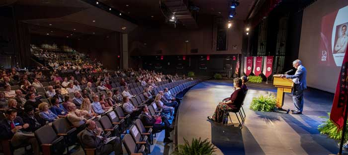 Chancellor Andrew Rogerson addresses UA Little Rock faculty and staff during a convocation on Aug. 17 in University Theatre. Photo by Ben Krain.