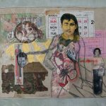 """Leang Seckon's 1974 piece """"Sun"""" was created using mixed media, photos, advertisements, acrylic paint, and stitching."""