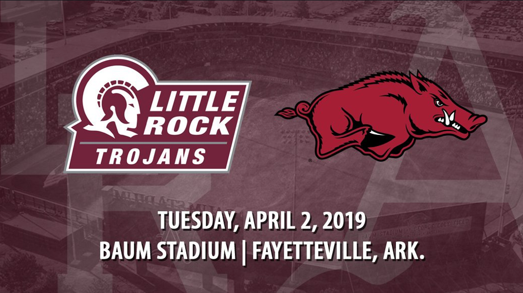 The Trojans will battle the Razorbacks on April 2, 2019, at Baum Stadium in Fayetteville.
