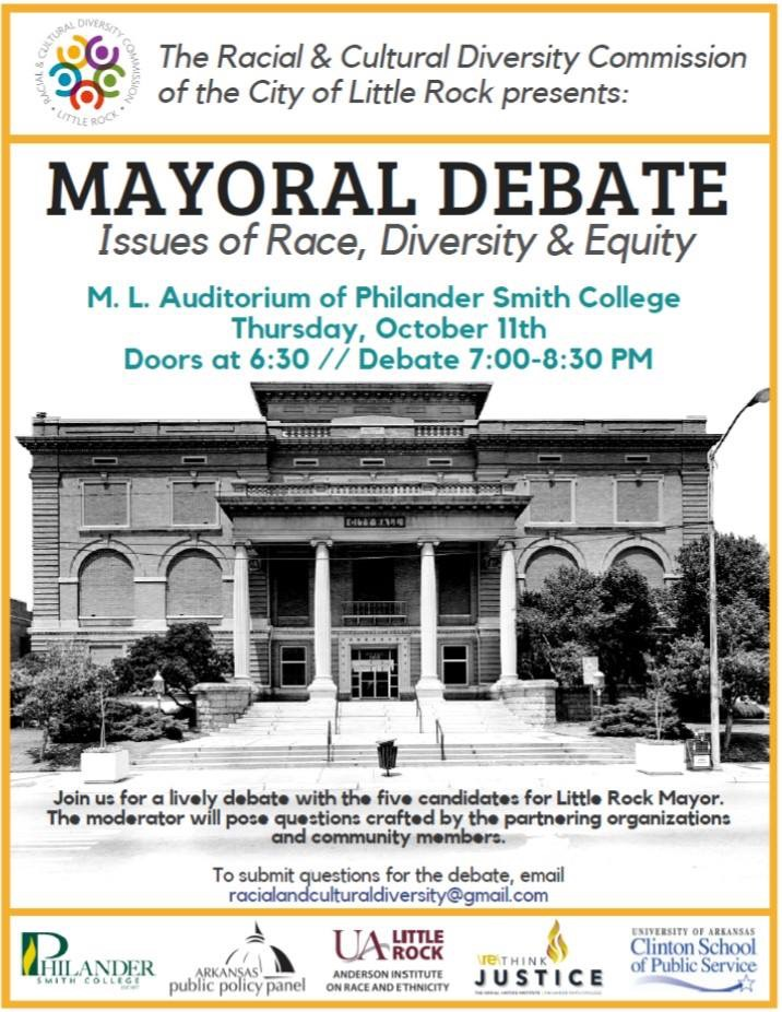 The UA Little Rock Anderson Institute on Race and Ethnicity is partnering with the Racial and Cultural Diversity Commission of the City of Little Rock to host a mayoral debate on issues of race, diversity, and equity Thursday, Oct. 11, at Philander Smith College.