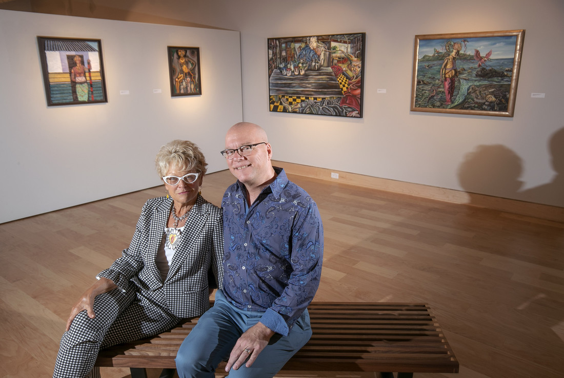 Brad Cushman visits with art collector Pierrette Van Cleve in the Windgate Center of Art and Design. Photo by Ben Krain.