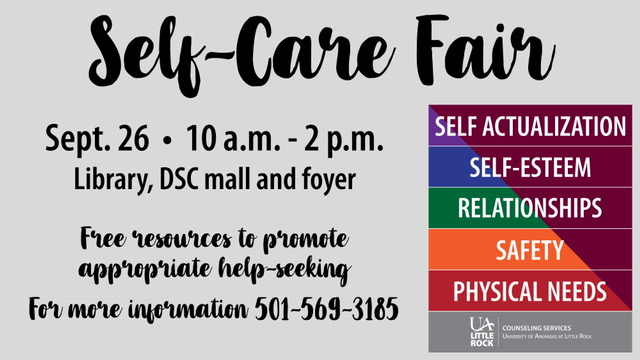 UA Little Rock's Counseling Services will host its first Self-Care Fair on Wednesday, Sept. 26 from 10 a.m. to 2 p.m.