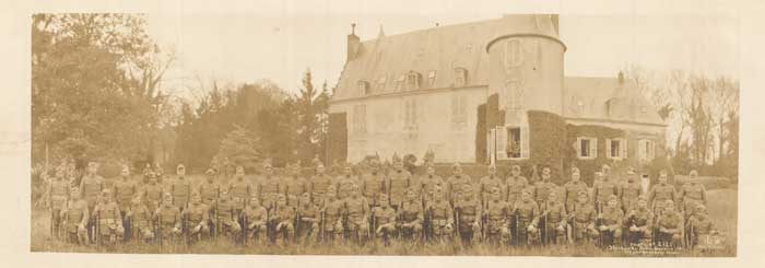 This panoramic photo depicts the 36th Division of the 142nd Infantry Company E, who served in France during World War I. The company was made almost entirely of American Indian soldiers.