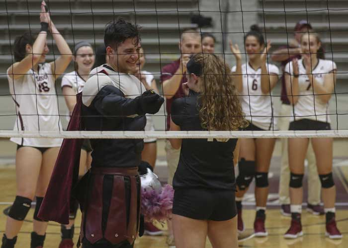 The UA Little Rock volleyball team congratulates senior Sydnee Martin, who just got engaged to her boyfriend, Jacob Bland. Photo by Ben Krain.