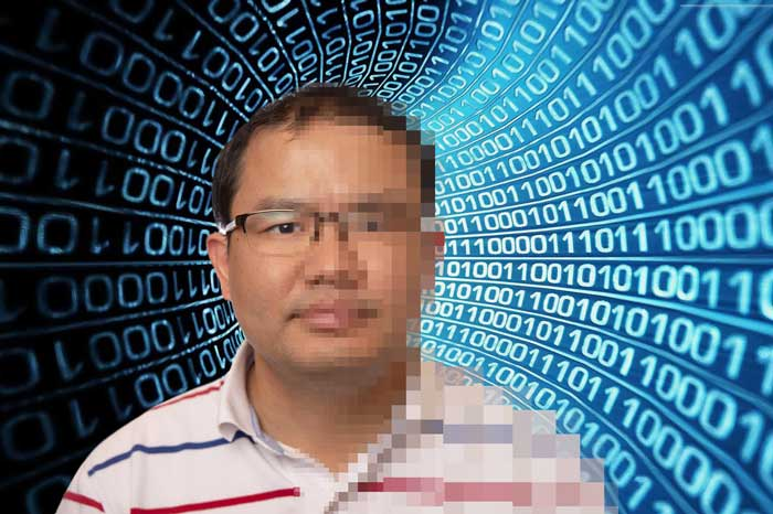 UA Little Rock graduate student David Dai is doing research on machine learning. His research involves programing computers to analyze large sets of data. In this image, Dai told the computer to corrupt part of this image of his face. Photo by Ben Krain.