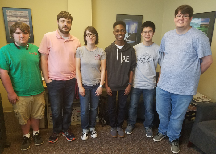 8 UA Little Rock students reached the hackathon's finals, including (from L to R): Ian Thompson, Michael DiCicco, Karen Watts, Brock Butler, Aaron David, and Hunter Wright
