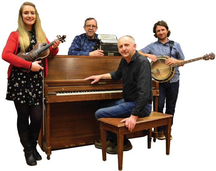 The Paul Brock Band features (L to R) Eimear Arkins, Paul Brock, Denis Carey, and Shane Farrell.