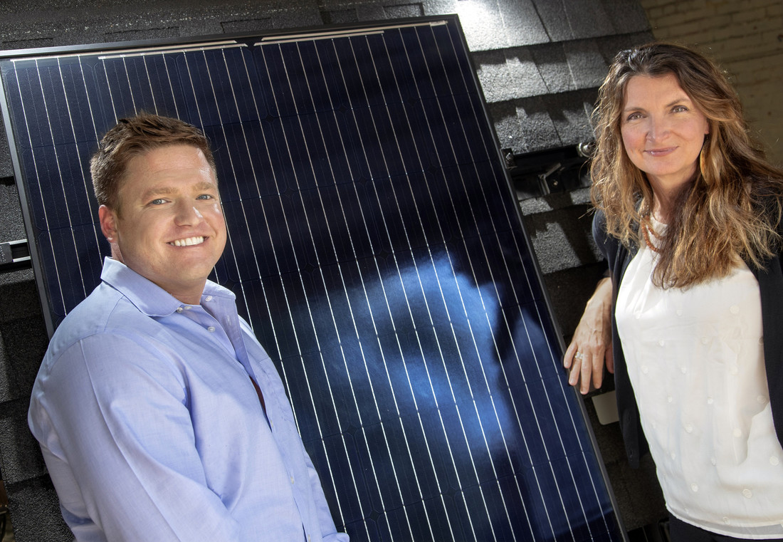 UA Little Rock alumni Josh Davenport (left) and Heather Nelson (right) founded their energy efficiency company, Seal Energy Solutions, in North Little Rock. Photo by Ben Krain.