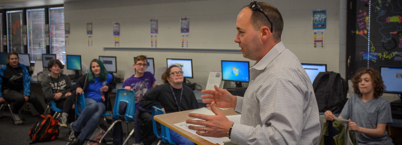 Rick Galeano, an online Ph.D. who live in South Carolina, visited with members of the Science Fiction and Fantasy Federation at Alice Drive Middle School in Sumter, South Carolina, on Feb. 1.