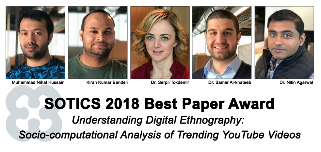 Social media researchers at the University of Arkansas at Little Rock have been recognized with the best paper award at an international conference for their research on the behavioral analysis of digital societies formed on the video-sharing platform YouTube.