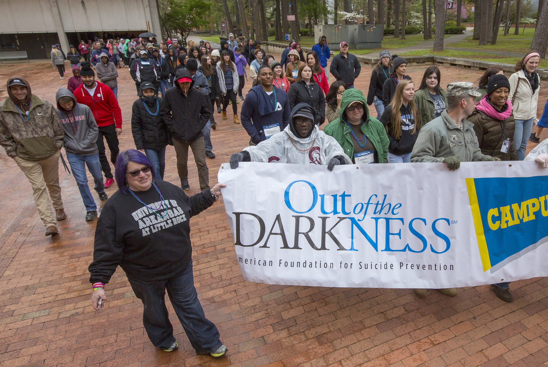 Over 100 students, faculty, staff, alumni, and members of the public walked in the 2018 Out of Darkness Suicide Prevention Walk at UA Little Rock. Photo by Benjamin Krain.