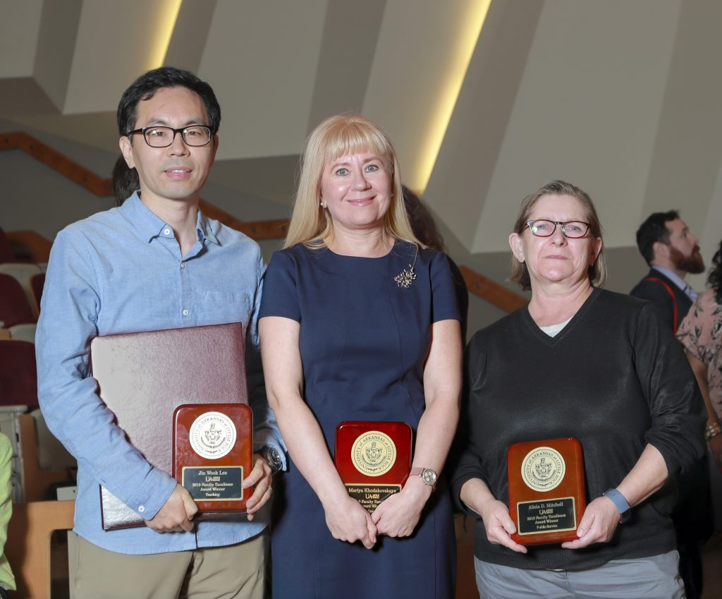 The top 2019 Faculty Excellence winners in each category are from left, Jin Wook Lee, for Teaching, Mariya Khodakovskaya, for Research and Creative Endeavors, and Alicia Mitchell, for Public Service. Photo by Benjamin Krain.