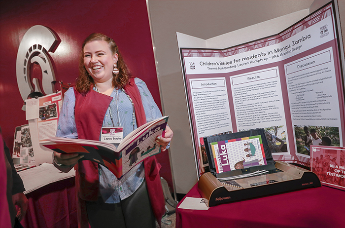 Lauren Humphrey presents at the 2019 Student Research and Creative Works Expo.