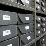 Boxed archives at Sequoyah National Research Center archives.