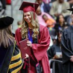 UA Little Rock Donaghey Scholars Ingrid Helgestad receives her diploma during the spring 2019 commencement ceremony. Photo by Ben Krain.
