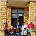 Arkansas law students travel on the road to provide pro bono legal services to rural communities in Arkansas with Legal Aid of Arkansas. Front row (L to R): Andrew Rodgers, Abby Brenneman, and Libby Nelson. Back row: LIsa Roam, Andrew Dixon, Sarah Koch, and Julian Sharp.