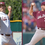 Junior pitchers McKinley Moore and Chandler Fidel heard their names called on day three of the Major League Baseball Draft. Moore was selected in the 14th round (pick 410) by the Chicago White Sox while Fidel was selected in the 23rd round (pick 700) by the Cleveland Indians.